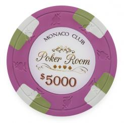 Bundle of 25 Pink Monaco Club Poker Chips - $5000 chip value