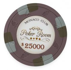 Bundle of 25 Brown Monaco Club Poker Chips - $25,000 chip value