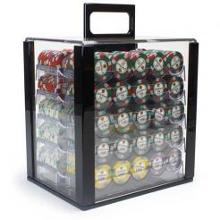 1000 showdown poker chip set in an acrylic chip carrier with 10 chip trays