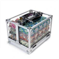 600 showdown poker chip set in an acrylic chip carrier
