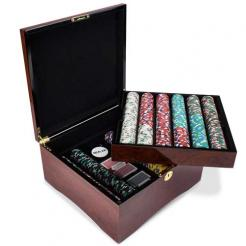 750 showdown poker chip set in a mahogany case