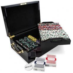 500 showdown poker chip set in a mahogany case