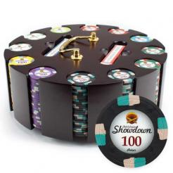 300 showdown poker chip set in a chip carousel