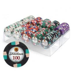 200 showdown poker chip set in an acrylic chip tray