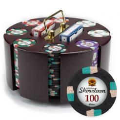 200 showdown poker chip set in a wooden chip carousel