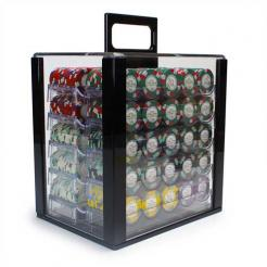 1000 Monaco Club poker chip set in an acrylic chip carrier with 10 chip trays