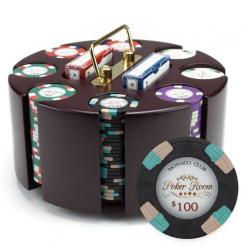 200 monaco club poker chip set in a wooden chip carousel