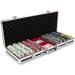 500 poker knights poker chip set in a black aluminum case