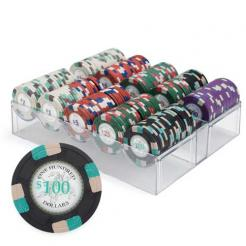 200 poker knights poker chip set in an acrylic chip tray