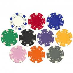 Bulk Striped Dice poker chips in quantities of 5000 chips or more