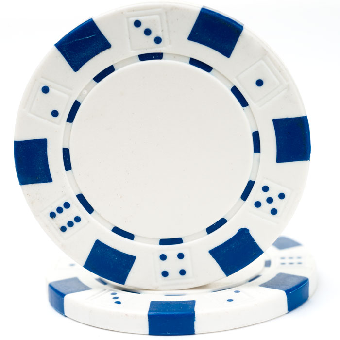 25 White Striped Dice Poker Chips