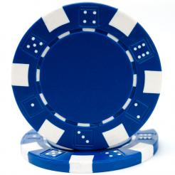 bundle of 25 blue striped dice poker chips
