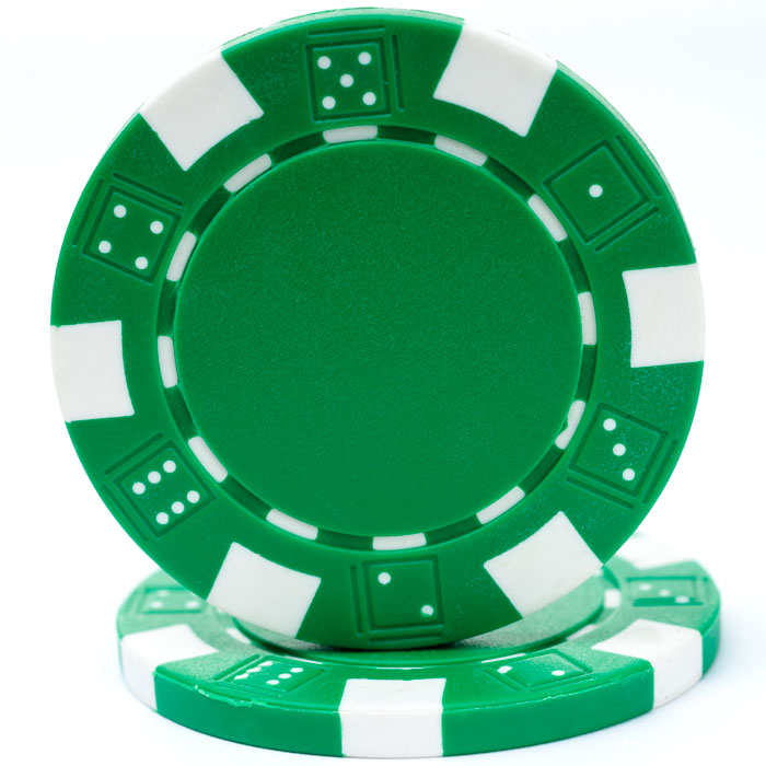 25 Green Striped Dice Poker Chips