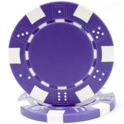 bundle of 25 purple striped dice poker chips