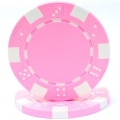 bundle of 25 pink striped dice poker chips