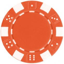 bundle of 25 orange striped dice poker chips