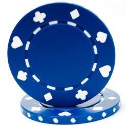 bundle of 25 blue suited poker chips