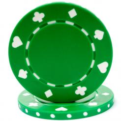 bundle of 25 green suited poker chips