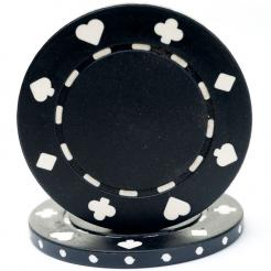 bundle of 25 black suited poker chips