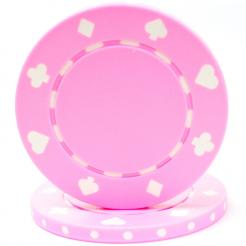 bundle of 25 pink suited poker chips