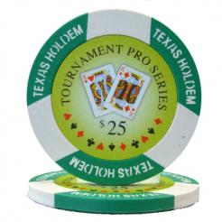 bundle of 25 green tournament pro poker chips