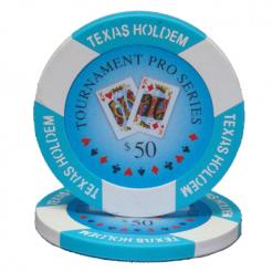 bundle of 25 light blue tournament pro poker chips
