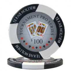 bundle of 25 black turnament pro poker chips
