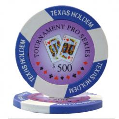 bindle of 25 purple turnament pro poker chips