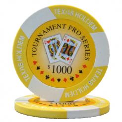 bundle of 25 yellow tournament pro poker chips