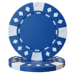 bundle of 25 blue diamond suited poker chips