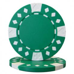 bundle of 25 green diamond suited poker chips