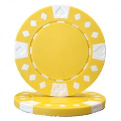 bundle of 25 yellow diamond suited poker chips