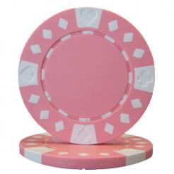 bundle of 25 pink diamond suited poker chips