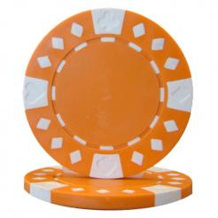 bundle of 25 orange diamond suited poker chips