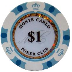 Bundle of 25 white monte carlo poker chips