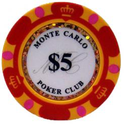 Bundle of 25 red monte carlo poker chips