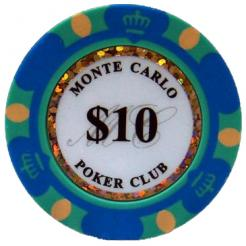 Bundle of 25 blue monte carlo poker chips