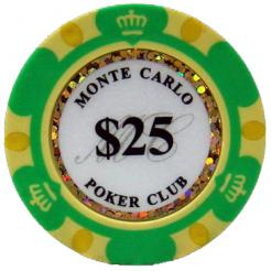 Bundle of 25 green monte carlo poker chips