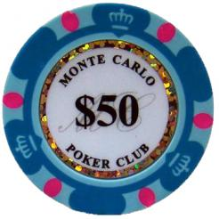 Bundle of 25 light blue monte carlo poker chips