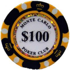 Bundle of 25 black monte carlo poker chips
