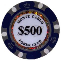 Bundle of 25 purple monte carlo poker chips