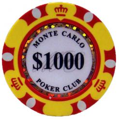 Bundle of 25 yellow monte carlo poker chips