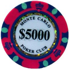 Bundle of 25 pink monte carlo poker chips