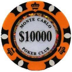 Bundle of 25 orange monte carlo poker chips