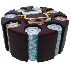 200 monte carlo poker chip set in a wooden chip carousel
