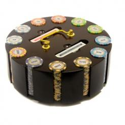 300 monte carlo poker chip set in a wooden chip carousel