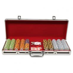 500 monte carlo poker chip set in a black aluminum case