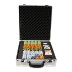 500 monte carlo poker chip set in a claysmith aluminum case with 5 chip trays