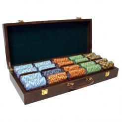 500 monte carlo poker chip set in a walnut case with 5 removeable chip trays