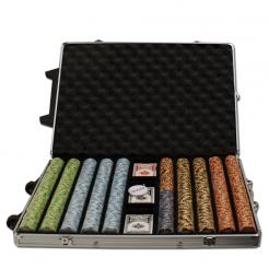 1000 monte carlo poker chip set in a rolling aluminum case